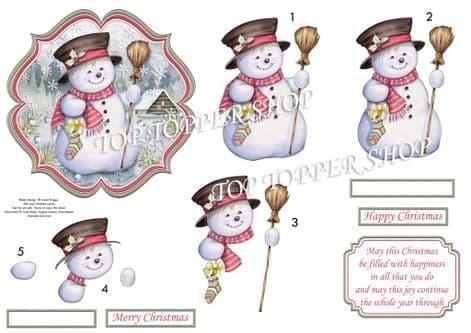 Snowman in Moonlight Card Topper & Decoupage printed sheet TTSJB14