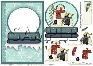 SNOWMAN SNOW GLOBE decoupage or aperture card  digital download
