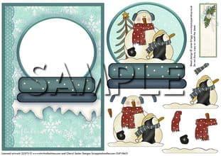 SNOWMAN SNOW GLOBE decoupage or aperture card printed sheet 284