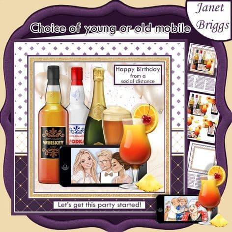 SOCIAL DISTANCING PARTY Humorous 7.5 Decoupage Card Kit digital download