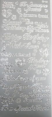 Special Birthday Wishes etc Silver Peel Off Stickers Jeje 2.2150