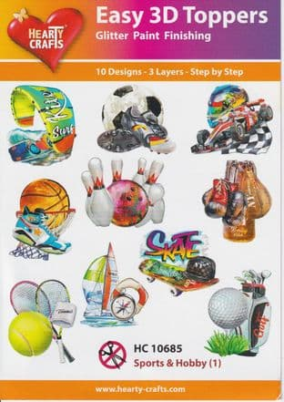 Sports & Hobbies 10 Easy 3d Die Cut Decoupage Toppers Hearty Crafts HC10685