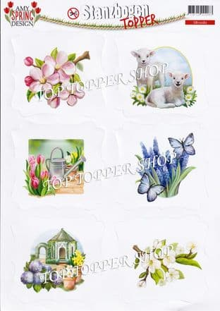 Spring  A4 Die Cut Card Toppers Amy Design Push Out CDS10082