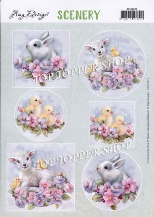 Spring Animals Easter A4 Die Cut Card Toppers Amy Design Push Out CDS10021