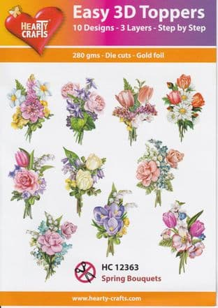 Spring Bouquets 10 Easy 3d Die Cut Decoupage Toppers Hearty Crafts HC12363