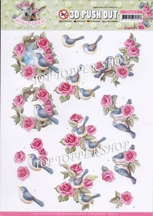 Spring is Here Birds & Roses A4 Die Cut Decoupage Sheet Amy Design Push Out SB10333
