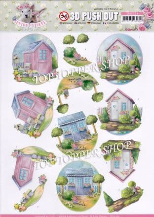 Spring is Here Garden Sheds Die Cut Decoupage Sheet Yvonne Creations Push Out SB10334