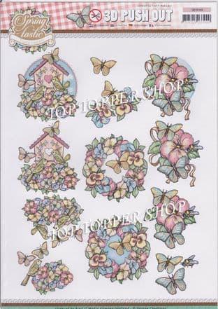 Springtastic Florals Die Cut Decoupage Sheet Yvonne Creations Push Out SB10140