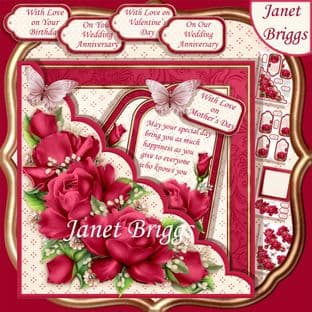 Square Scallop Pocket Deep Pink Roses 7.5 Decoupage Card Kit digital download
