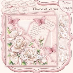 Square Scallop Pocket Pearl Roses 7.5 Decoupage Card Kit digital download