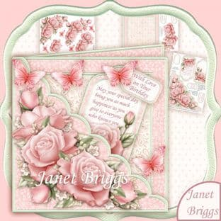 Square Scallop Pocket Pink Roses 7.5 Decoupage Card Kit digital download
