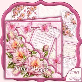 Square Scallop Pocket Summer Roses 7.5 Decoupage Card Kit digital download