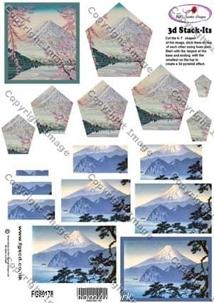 STACK-ITS 178 ORIENTAL MOUNTAIN  SCENES - PYRAMID DECOUPAGE