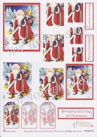 STACK-ITS 573 CHRISTMAS SANTA - FGS PYRAMID DECOUPAGE SHEET