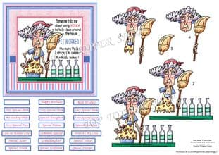 STELLA CLEANING WITH VODKA 5x5 Decoupage Sheet digital download 921BUG