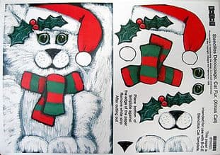 STENCILLO CAT TEMPLATE PAPER, CHRISTMAS FUR by BCE