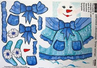STENCILLO CHRISTMAS SNOW WOMAN blue DECOUPAGE PAPER