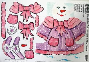 STENCILLO CHRISTMAS SNOW WOMAN pink DECOUPAGE PAPER