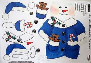 STENCILLO CHRISTMAS SNOWMAN blue DECOUPAGE PAPER