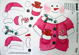 STENCILLO CHRISTMAS SNOWMAN pink DECOUPAGE PAPER