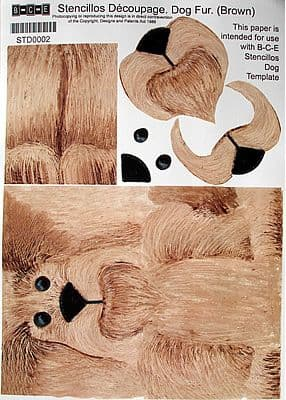 STENCILLO DOG TEMPLATE PAPER, BROWN FUR