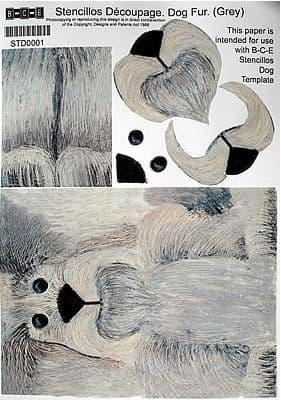 STENCILLO DOG TEMPLATE PAPER, GREY FUR