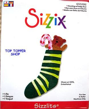 STOCKING W/ TEDDY BEAR SIZZIX SIZZLITS SINGLE DIE