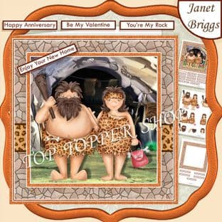 STONE AGE COUPLE  7.5 Anniversary, New Home Decoupage Card Kit digital download