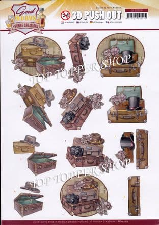 Suitcase & Hats Good Old Days Die Cut Decoupage Sheet Yvonne Creations Push Out SB10509