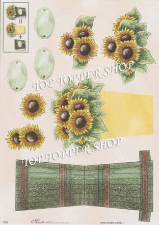 Sunflower Pot Stand Up Card & Decoupage Sheet  Requires Cutting E003