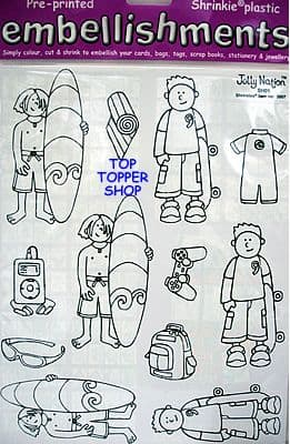 SURFER & SKATEBOARD BOY SKATER SHRINKLES - JOLLY NATION SHRINK PLASTIC SH01