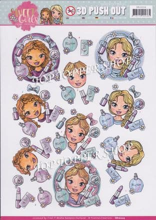 Sweet Girls Make Up Die Cut Decoupage Sheet Yvonne Creations Push Out SB10224