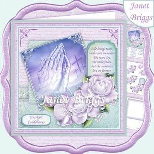 SYMPATHY PRAYING HANDS ROSES & VERSE 8x8 Decoupage  Card Kit digital download