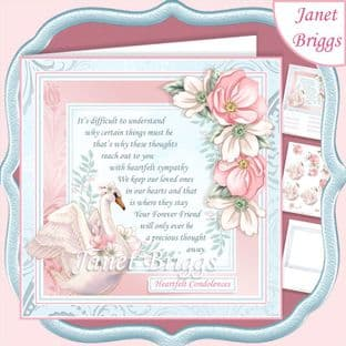 SYMPATHY VERSE & SWAN 7.5 Decoupage Card Kit digital download