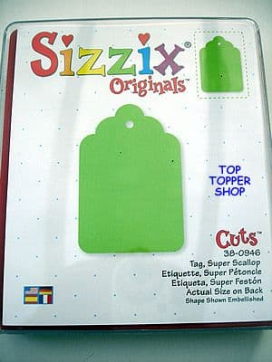 TAG, SUPER SCALLOP SIZZIX LARGE RED DIE rare