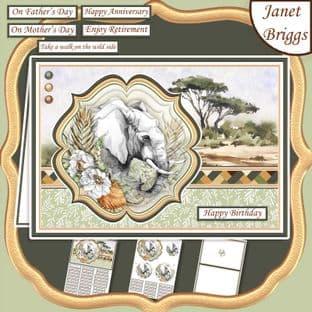 TAKE A WALK ON THE WILD SIDE SAFARI ELEPHANT A5 Pyramage Card Kit digital download
