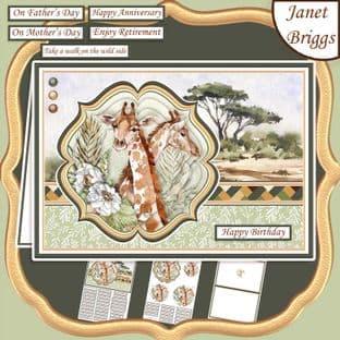 TAKE A WALK ON THE WILD SIDE SAFARI GIRAFFE A5 Pyramage Card Kit digital download