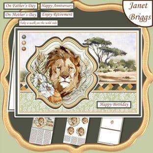 TAKE A WALK ON THE WILD SIDE SAFARI LION A5 Pyramage Card Kit digital download