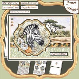 TAKE A WALK ON THE WILD SIDE SAFARI ZEBRA A5 Pyramage Card Kit digital download