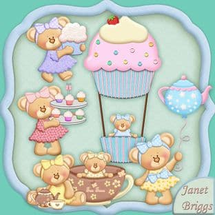 Teatime Teddies Clipart Printed Sheet Kw24