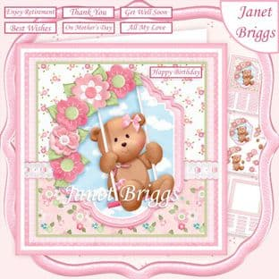 TEDDY BEAR SWING 7.5 Decoupage Card Kit digital download