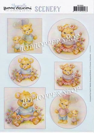 Teddy Bears  A4 Die Cut Card Toppers Amy Design Push Out CDS10035
