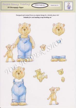 TEDDY BOY 24 Decoupage Sheet Purple Penny Trading
