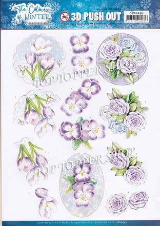 The Colour of Winter Purple Flowers A4 Die Cut Decoupage Sheet Jeanine's Art Push Out SB10493