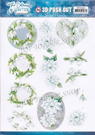 The Colour of Winter White Flowers A4 Die Cut Decoupage Sheet Jeanine's Art Push Out SB10492