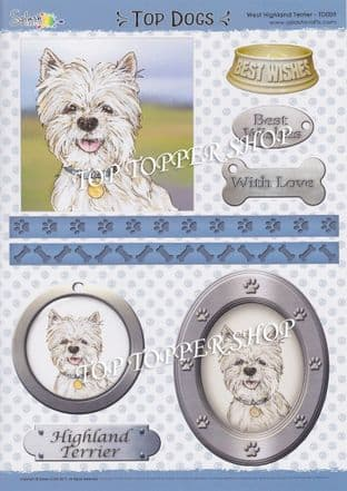 Top Dogs Decoupage Sheet West Highland Terrier Splash Crafts TD009 requires cutting