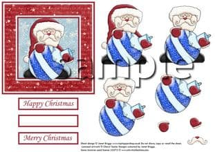 SANTA AND BAUBLE topper and decoupage printed sheet 302
