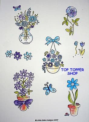 TOPPERS, BLUE FLOWERS DESIGN SHEET by LITTLE CLAIRE DESIGNS