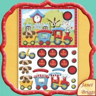 Train Station With Age Badges Topper And Decoupage Printed Sheet