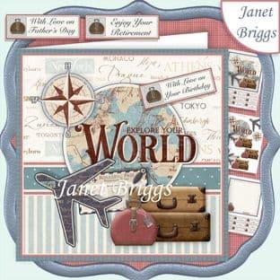 TRAVEL AROUND THE WORLD 7.5 Decoupage Card Kit digital download